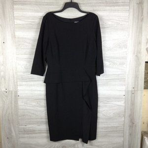 Vince Camuto Boat Neck Ruffled Long Sleeve Dress